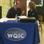 Mike Ebersole interviewing Carol Davies from Lebanon County Agency on Aging at the 50 Plus Festival.