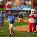 Our own Steve Todd from WQIC throwing out the First Pitch!!